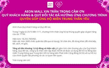 """AEONMALL Vietnam thanks for joining donation program """"Joining hands for our central region"""""""
