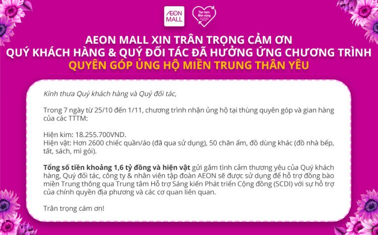 "AEONMALL Vietnam thanks for joining donation program ""Joining hands for our central region"""