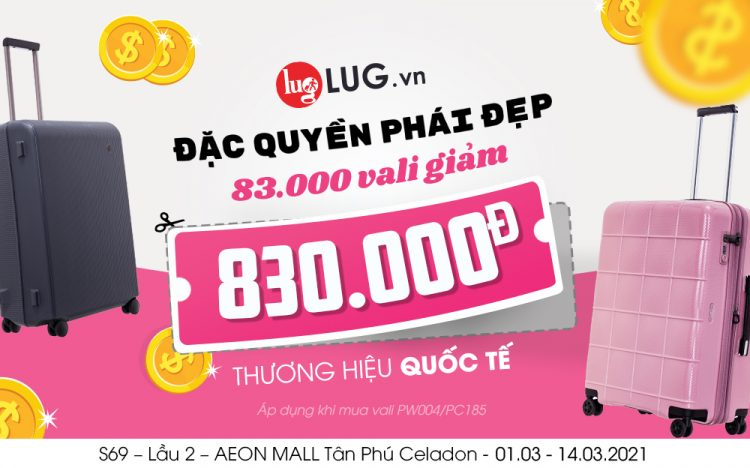 DIRECT DISCOUNT VND 830,000 INTERNATIONAL LUXURY LUGGAGE BRAND FOR THE ONE LUG LOVE