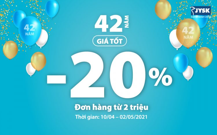 JYSK CELEBRATES 42nd BIRTHDAY – DISCOUNT UP TO 25% ALL ITEMS